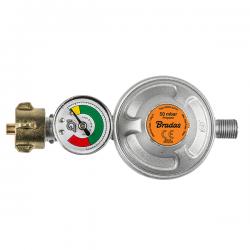"""Reduktor gazowy 50mbar, 1,5kg/h, z zaworem bezpieczeństwa i manometrem GZ1/4""""L"""