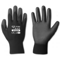 Rękawice ochronne PURE BLACK rozmiar 7 poliuretan