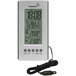 Elektroniczny termometr wew./zew. zeg., srebrny