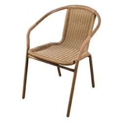 Krzesło z oparciem plecionym brązowe