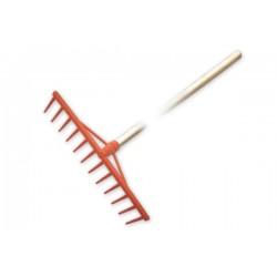 Grabie tradycyjne PVC, 12 zębów, trzonek drewniany lakierowany