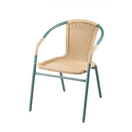 Krzesło z oparciem plecionym, zielone