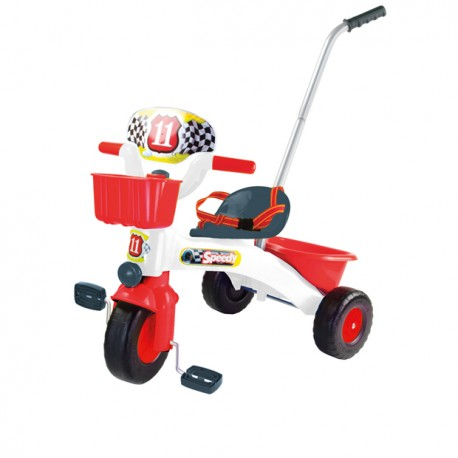 Rowerek plastikowy z rączką i wolnym kołem Speedy